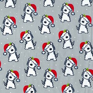 Rose & Hubble Christmas Pooch on Grey, per quarter (50cm x 67cm)