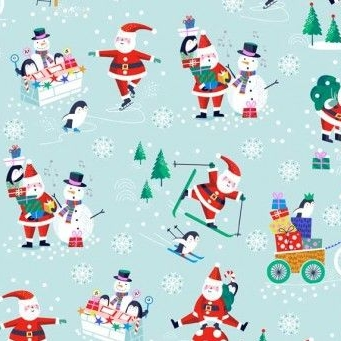 <!--9041-->Makower UK - Jolly Santa Scenic, per fat quarter