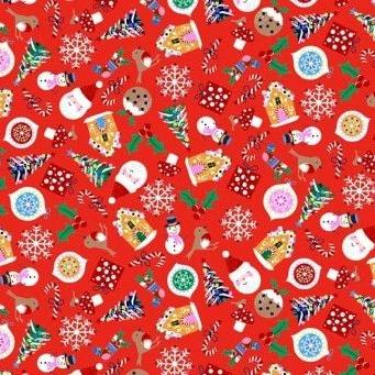 Makower UK - Jolly Santa Icons on Red, per fat quarter