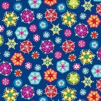 Makower UK - Joyeux Snowflakes, per fat quarter