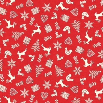 Makower UK - Scandi Scatter in Red, per fat quarter