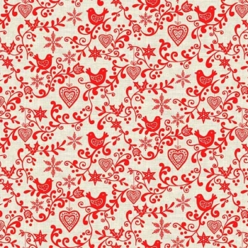 Makower UK - Scandi Scroll in Red, per fat quarter