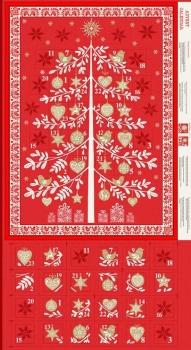 Makower UK - Scandi Tree Advent Calender Panel in Red (with gold metallic detailing), per panel