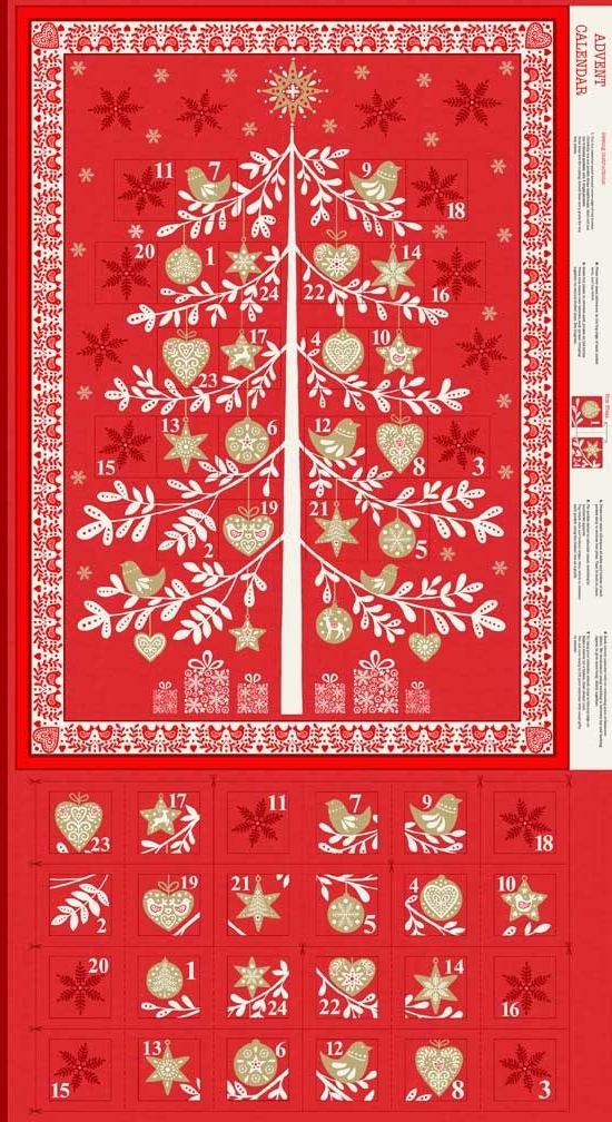 <!--9054-->Makower UK - Scandi Tree Advent Calender Panel in Red (with gold