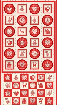 Makower UK - Scandi Advent Calender Pocket Panel in Red (with gold metallic detailing), per panel