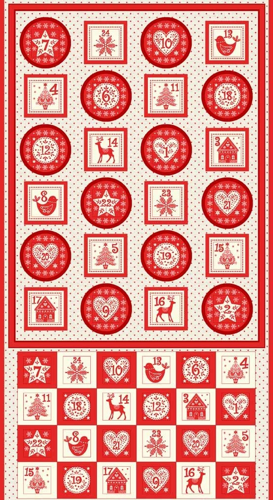 <!--9055-->Makower UK - Scandi Advent Calender Pocket Panel in Red (with go