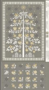 Makower UK - Scandi Tree Advent Calender Panel in Grey (with gold metallic detailing), per panel