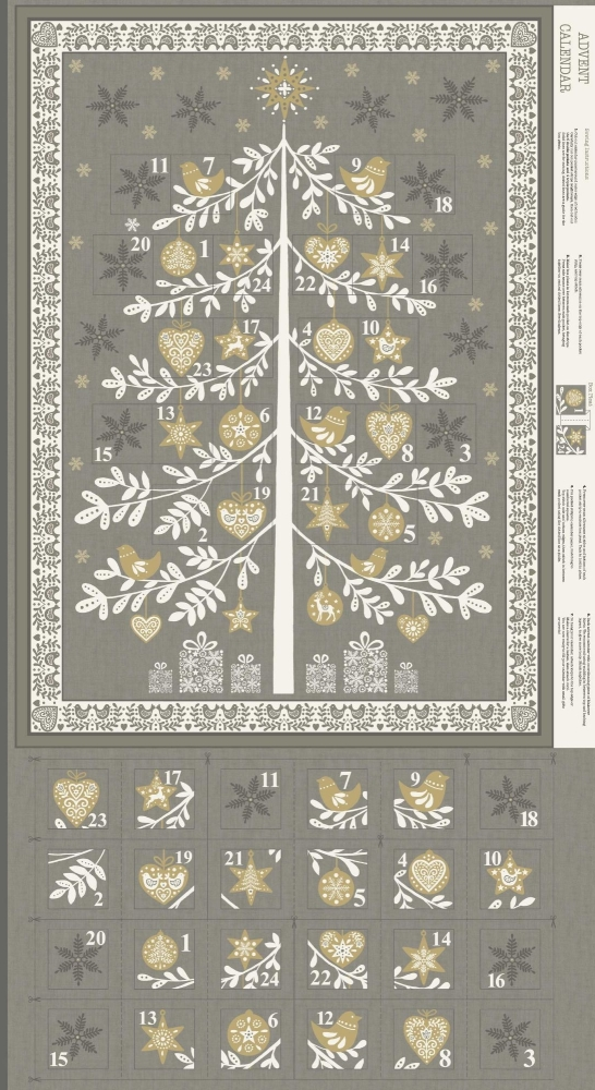 <!--9063-->Makower UK - Scandi Tree Advent Calender Panel in Grey (with gol