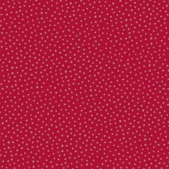 Makower UK - Silent Night Metallic Spot in Red (with gold metallic detailing), per fat quarter
