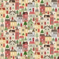 <!--9067-->Makower UK - Silent Night Houses (with gold metallic detailing), per fat quarter