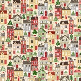 Makower UK - Silent Night Houses (with gold metallic detailing), per fat quarter