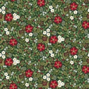 <!--9068-->Makower UK - Silent Night Foliage in Green (with gold metallic d