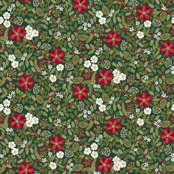 Makower UK - Silent Night Foliage in Green (with gold metallic detailing), per fat quarter