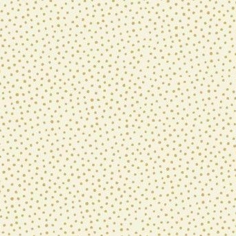 Makower UK - Silent Night Metallic Spot in Cream (with gold metallic detailing), per fat quarter