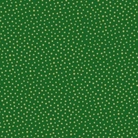 <!--9071-->Makower UK - Silent Night Metallic Spot in Green (with gold metallic detailing), per fat quarter