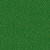 <!--9071-->Makower UK - Silent Night Metallic Spot in Green (with gold metallic detailing), per fat quarter