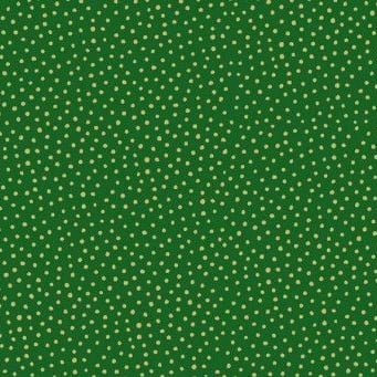 Makower UK - Silent Night Metallic Spot in Green (with gold metallic detailing), per fat quarter