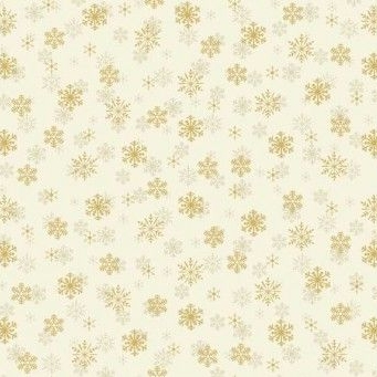 Makower UK - Silent Night Metallic Snowflake in Cream (with gold metallic detailing), per fat quarter