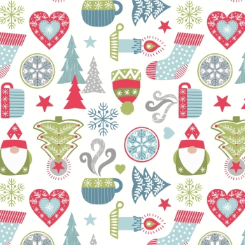 Lewis & Irene - A Hygge Christmas - Hygge Christmas on Cream, per fat quarter