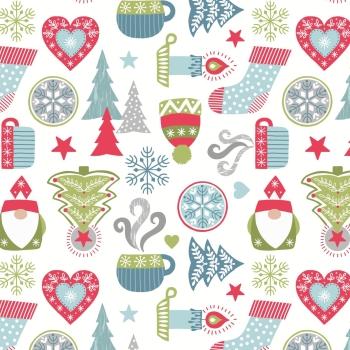 Lewis & Irene - A Hygge Christmas - Hygge Christmas on Cream, per fat quarter