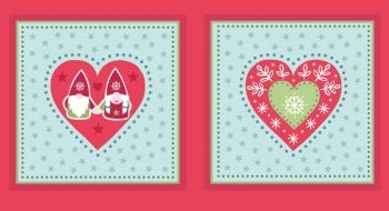Lewis & Irene - A Hygge Christmas Tonttu Cushion Panel in Green, per panel