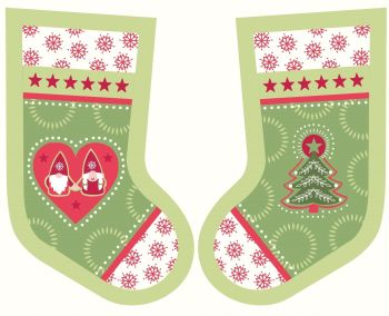 Lewis & Irene - A Hygge Christmas Stocking Panel in Christmas Green, per panel