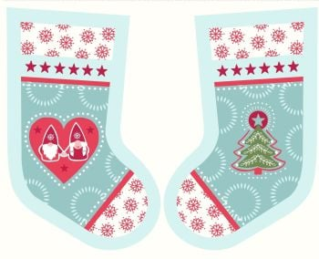 Lewis & Irene - A Hygge Christmas Stocking Panel in Icy Blue, per panel