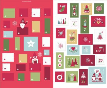 Lewis & Irene - A Hygge Christmas EXTRA LARGE Advent Panel in Red, per panel