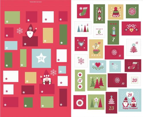 <!--9082-->Lewis & Irene - A Hygge Christmas EXTRA LARGE Advent Panel in Re
