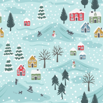 Lewis & Irene - Snow Day On Icy Blue (with pearlescent detailing), per fat quarter