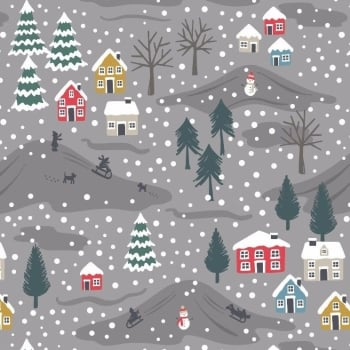 Lewis & Irene - Snow Day On Grey (with pearlescent detailing), per fat quarter