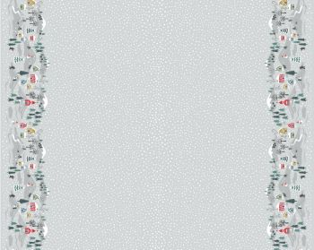 Lewis & Irene - Snow Day Double Border On Silver (with pearlescent detailing), per fat quarter