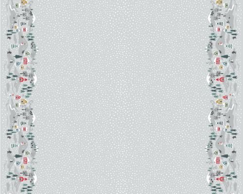 <!--9090-->Lewis & Irene - Snow Day Double Border On Silver (with pearlesce