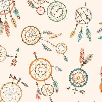 Studio E - Camp Along Critters - Dreamcatchers in Cream, per fat quarter