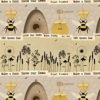 <!--5346-->Studio E - Save our Bees - Novelty Stripe in Beige, per fat quarter