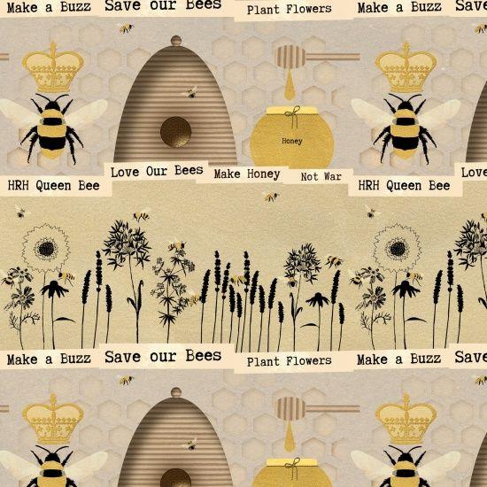 <!--5347-->Studio E - Save our Bees - Novelty Stripe in Beige, per fat quar