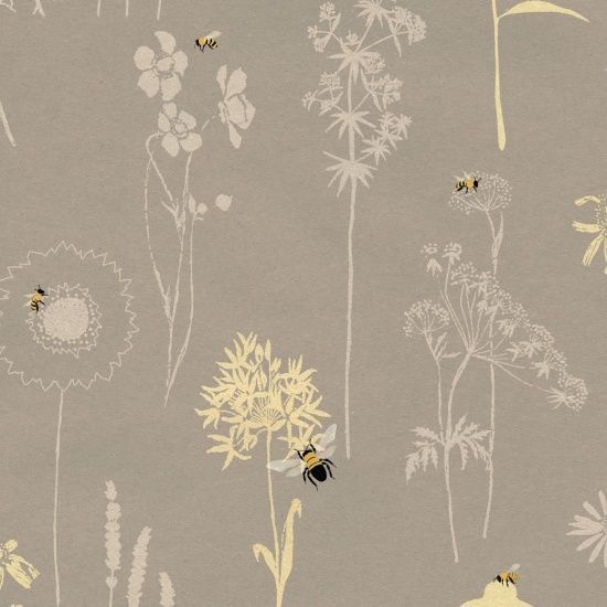 <!--5347-->Studio E - Save our Bees - Flower Outlines in Grey, per fat quar