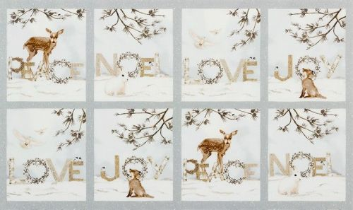 <!--9101-->Robert Kaufman - Winter White Panel in Ice (with silver metallic