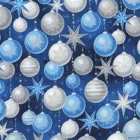 <!--9097-->Robert Kaufman - Winters Grandeur Baubles in Evening Blue (with silver metallic detailing), per fat quarter
