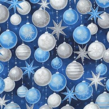 Robert Kaufman - Winters Grandeur Baubles in Evening Blue (with silver metallic detailing), per fat quarter