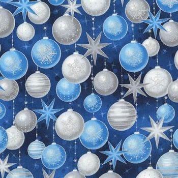 Robert Kaufman - Winters Grandeur Baubles in Evening Blue (with silver metallic detailing), per fat quarter