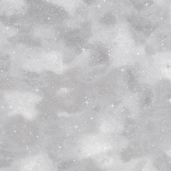 Robert Kaufman - Winter White Starry Night in Ice Grey (with silver metallic detailing), per fat quarter