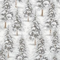 <!--9100-->Robert Kaufman - Winter White Trees in Ice Grey (with silver metallic detailing), per fat quarter