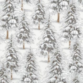Robert Kaufman - Winter White Trees in Ice Grey (with silver metallic detailing), per fat quarter