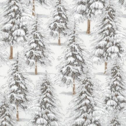 <!--9103-->Robert Kaufman - Winter White Trees in Ice Grey (with silver met