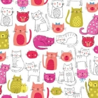 <!--3202-->Makower UK - Kitty Cats in Pink, per fat quarter