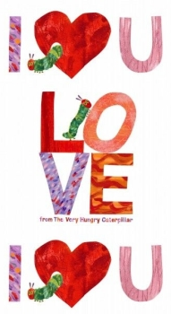 Makower UK - Very Hungry Caterpiller 'I Love You' Panel, per panel  **USUALLY £7.00**