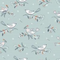 <!--9073b-->Dashwood Studios - Winterfold Birds on Grey (with Copper Metallic Detailing), per fat quarter