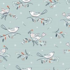 Dashwood Studios - Winterfold Birds on Grey (with Copper Metallic Detailing), per fat quarter