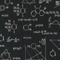 <!--5402-->Robert Kaufman - Science Fair Equations on Black, per fat quarter